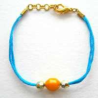 Friendship Bracelet in Teal with Mustard and Gold beading, stacking bracelets