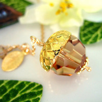 Gold Acorn Light Topaz Swarovski Crystal Charm Necklace