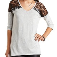 Oversized Lace Yoke Tunic Top by Charlotte Russe - Heather Gray