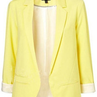 Yellow Boyfriend Ponte Blazer with Rolled Sleeves Blazer - Sheinside.com