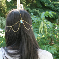 Bohemian Head Chain in Gold with Moon Charm