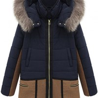 Fashionable Padding Cotton Paneled Hooded Jacket - OASAP.com