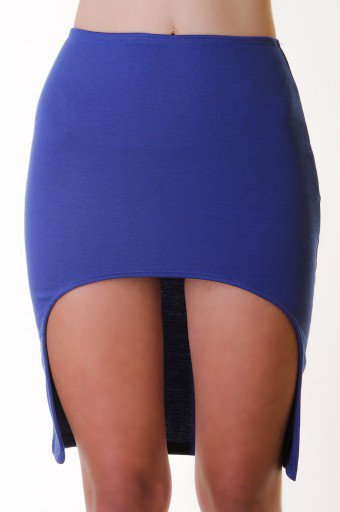 BLUE FITTED HIGH LOW SKIRT @ KiwiLook fashion