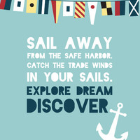 Mark Twain Quote - Nautical Print - Explore Dream Discover
