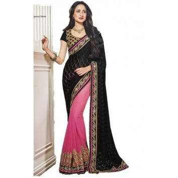 Classy Black and Pink Georgette Saree - TheEthnicWear