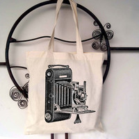 Antique Camera Canvas Tote Bag - screen printed cotton bag