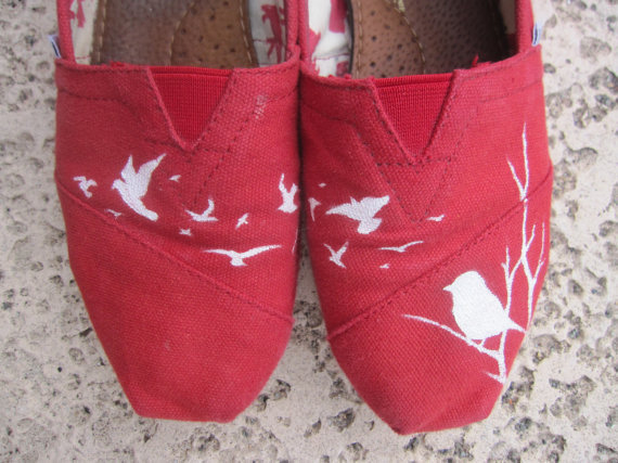 Handpainted Flying Birds TOMS