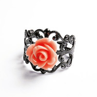 Filigree Flower Ring  - Gunmetal Vintage-Style Filigree Ring with Small Shiny Lucite Rose, Adjustable - Vintage Pink