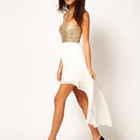ASOS One Shoulder Dress in Sequin with High Low Hem at asos.com