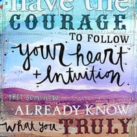 Heart and Intuition 8 x 10 paper print - Steve Jobs quote - inspirational mixed media word art, typography collage and text