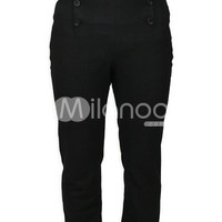 Modern Black Cotton Mens Steampunk Trousers - Milanoo.com
