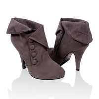 Papaya Clothing Online :: FAUX SUEDE BUTTON ANKLE BOOTS