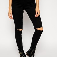 Noisy May Devil Skinny Jeans With Ripped Knees