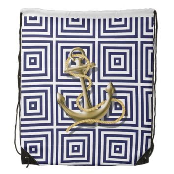 navy preppy pattern nautical anchor Drawstring Backpack