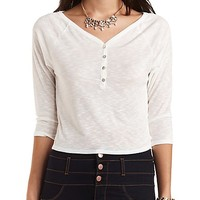 Cropped Slub Knit Henley Top by Charlotte Russe - White