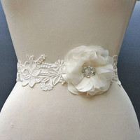 Ivory Bridal Sash, Bridal Belt, Wedding Sash, Wedding Accessories, Beaded, Floral, Lace
