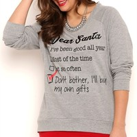 Plus Size Long Sleeve French Terry Top with Dear Santa Screen
