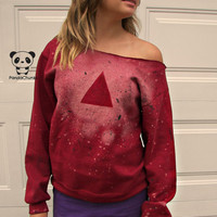 Inverted Triangle Crew Neck SweatShirt made to order Red