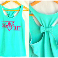 Workout Clothes Racerback Tank Top WORK your Heart OUT - Large