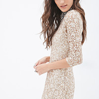 FOREVER 21 Sequined Lace Skater Dress Nude/Gold