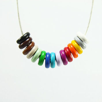 Colorful Geometric Necklace - Hippie Rainbow Fun Funky Jewelry - turquoise, red, yellow, grey, pastel color, brown, black, green, blue