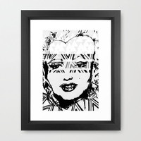Marilyn Monroe black and white illustration portrait.