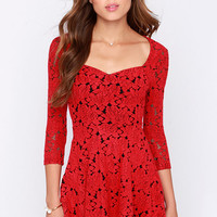 Mink Pink Little Red Black and Red Jacquard Dress