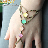 Slave Bracelet Hand Bracelet Hipster Bronze Chain Four Colour Pearl Triangle Pyramid Chevron Hand Jewelry Piece MB670