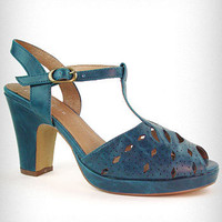 Teal Jitterbug Jane Heeled Sandals | PLASTICLAND