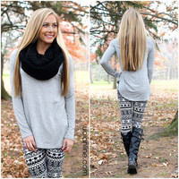 The Perfect Long-Sleeved Tunic - Grey - GREY /