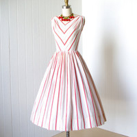vintage 1950&#x27;s dress ...fabulous SPORTLANE DEB saks fifth avenue white red woven chevron stripes cotton full skirt pin-up sun dress