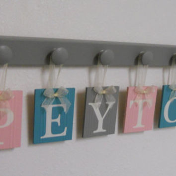 Baby Nursery Wooden Wall Letters Sign - 6 Wooden Pegs in Grey Custom Hanging Ribbon Name Tags in Light Pink, Green Teal and Gray for PEYTON
