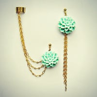 mint flower ear cuff and earrings, cain ear cuff, ear cuff with gold chains, asymmetrical earrings