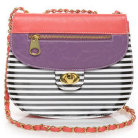Cute Striped Purse - Pink Purse - Vegan Leather Purse - $31.00