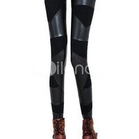Black Cotton Leather Matching Women's Skinny Pants -  Milanoo.com