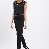 LOVE 21 Chiffon Pleated Jumpsuit Black