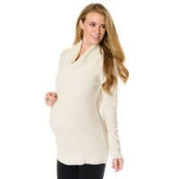 Oh Baby by Motherhood Textured Cowlneck Tunic Sweater - Maternity