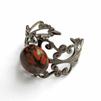 Leopardskin Jasper Ring  - Gunmetal Vintage-Style Filigree Ring with 10mm Leopardskin Jasper Cabochon, Adjustable