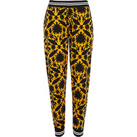 River Island Womens Yellow tapestry print joggers