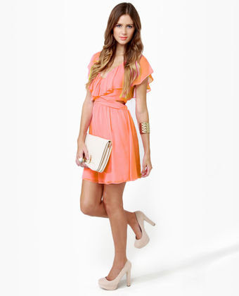 Cute Ruffle Dress - Coral Dress - Pink Dress - Cutout Dress - $47.00