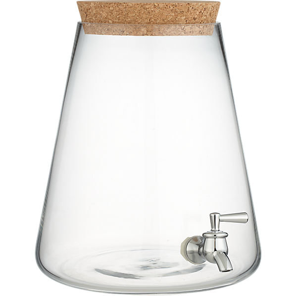 glass beverage dispenser in serving pieces | CB2