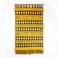 Vintage Large Woven Tribal Wall Hanging - Tapestry Weaving with Tassels - Geometric Tapestry - Mid Century Bold Yellow and Black Fiber Art