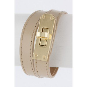 ALESSANDRA LEATHER WRAP BRACELET BEIGE