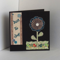 Handmade Blue Rosette Flower 'Just To Say'  Card