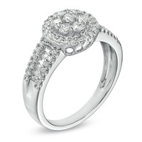 1/2 CT. T.W. Diamond Cluster Frame Ring in Sterling Silver
