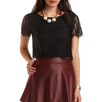 Scalloped Cropped Lace Top by Charlotte Russe