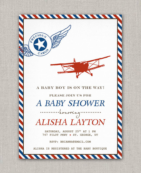 Vintage Airplane Birthday Party Airplane Baby Shower: Precious Cargo Vintage Airplane Baby From Announcingyou On