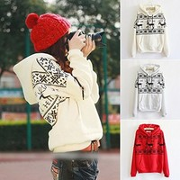 Women's Clothing Printing the fawn hooded fleece Sweatshirts