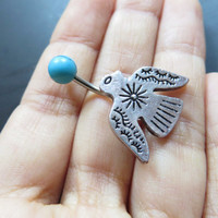 Thunderbird Belly Button Ring Jewelry Turquoise Tribal Thunder Bird Eagle Hawk Charm Dangle Navel Piercing Bar Barbell Stud