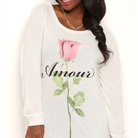 Plus Size Long Sleeve Top with Amour Rose Screen and Banded Bottom